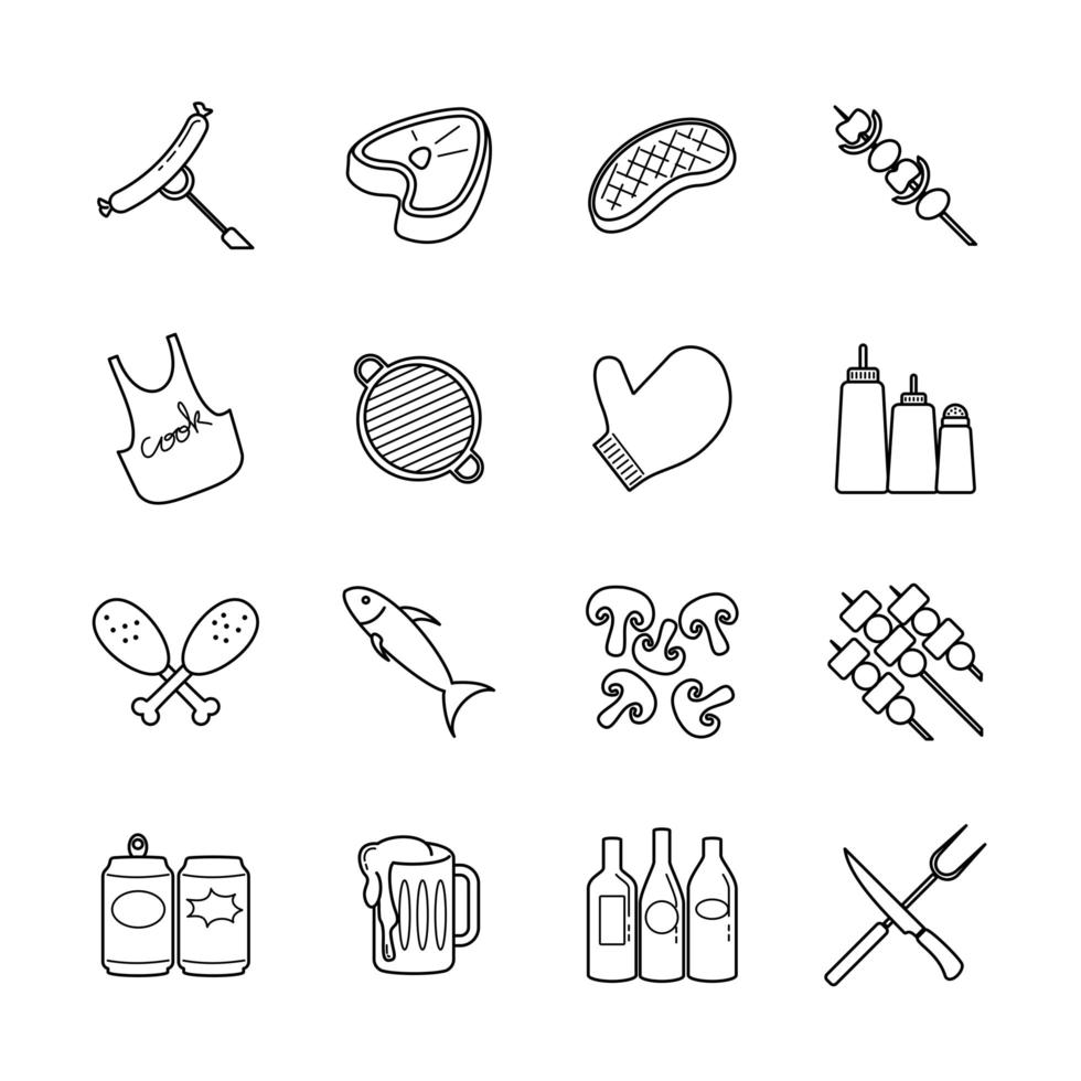 jeu d'icônes de ligne barbecue party vecteur