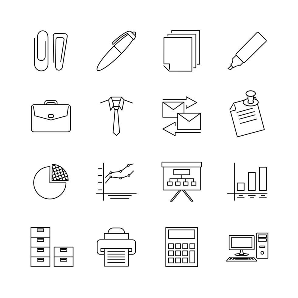 jeu d'icônes pour l'activité de bureau vecteur