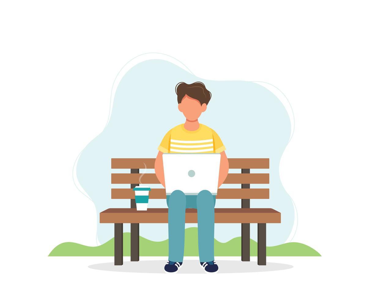 homme avec ordinateur portable assis sur le banc vecteur