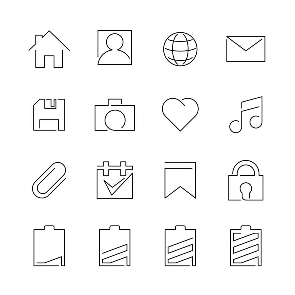 jeu d'icônes de ligne pour l'interface utilisateur vecteur