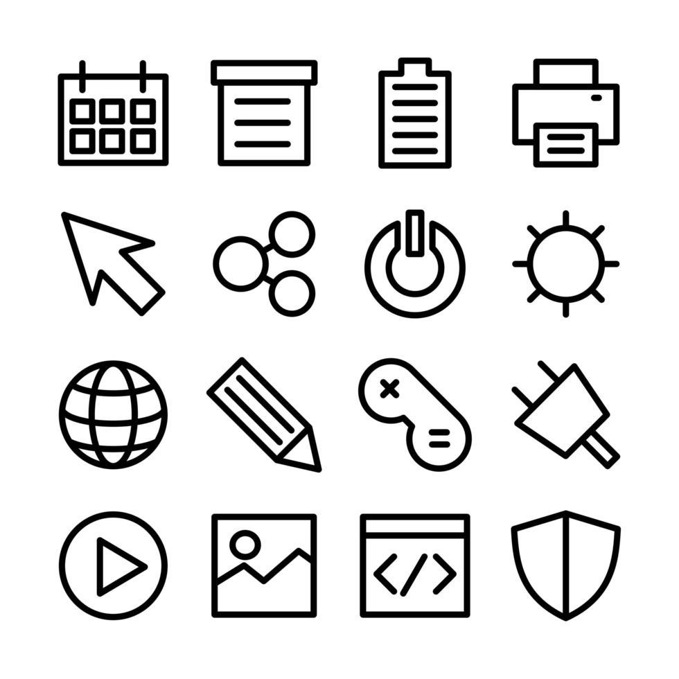 jeu d'icônes de ligne interface utilisateur associée vecteur