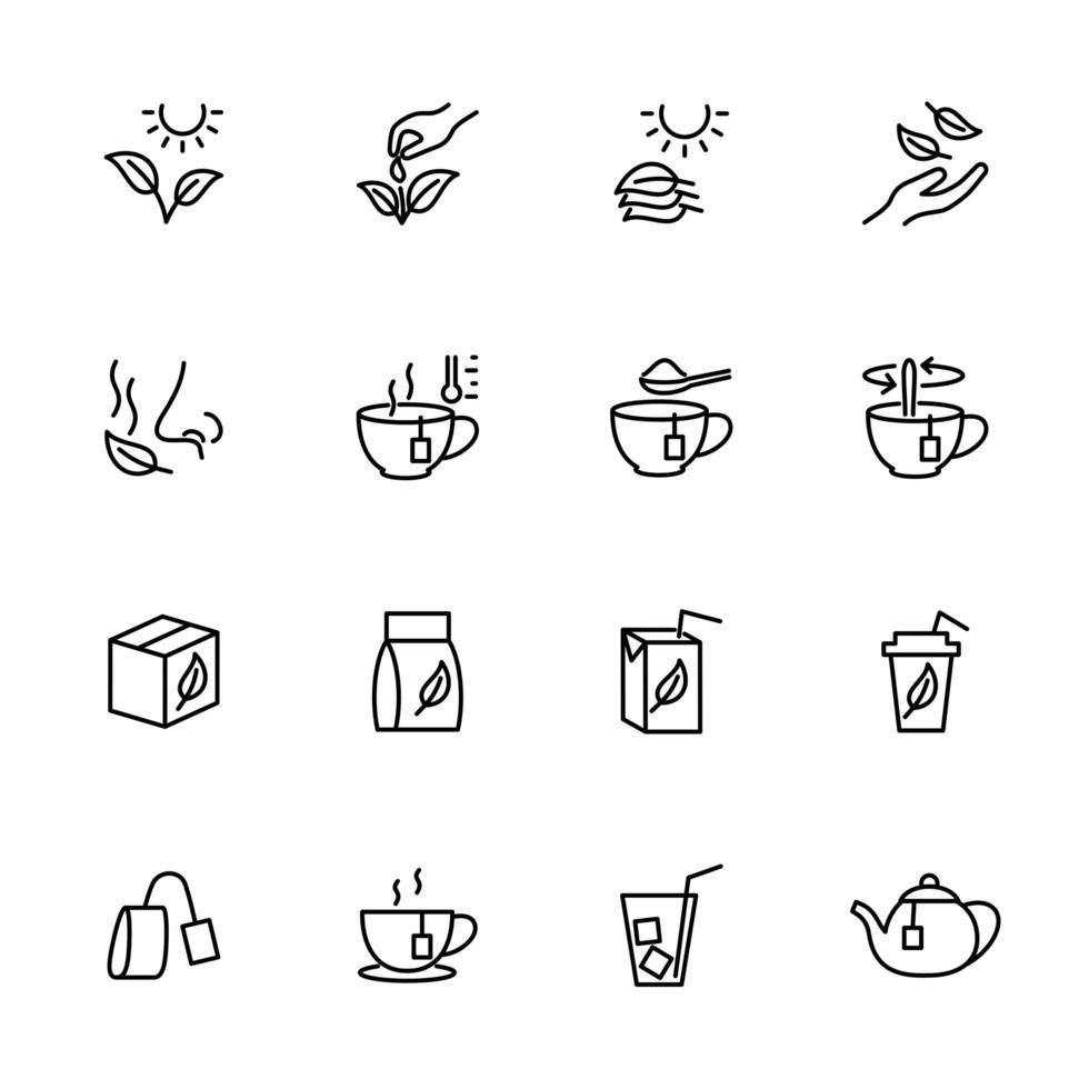 jeu d'icônes de ligne de traitement et de service de thé vecteur