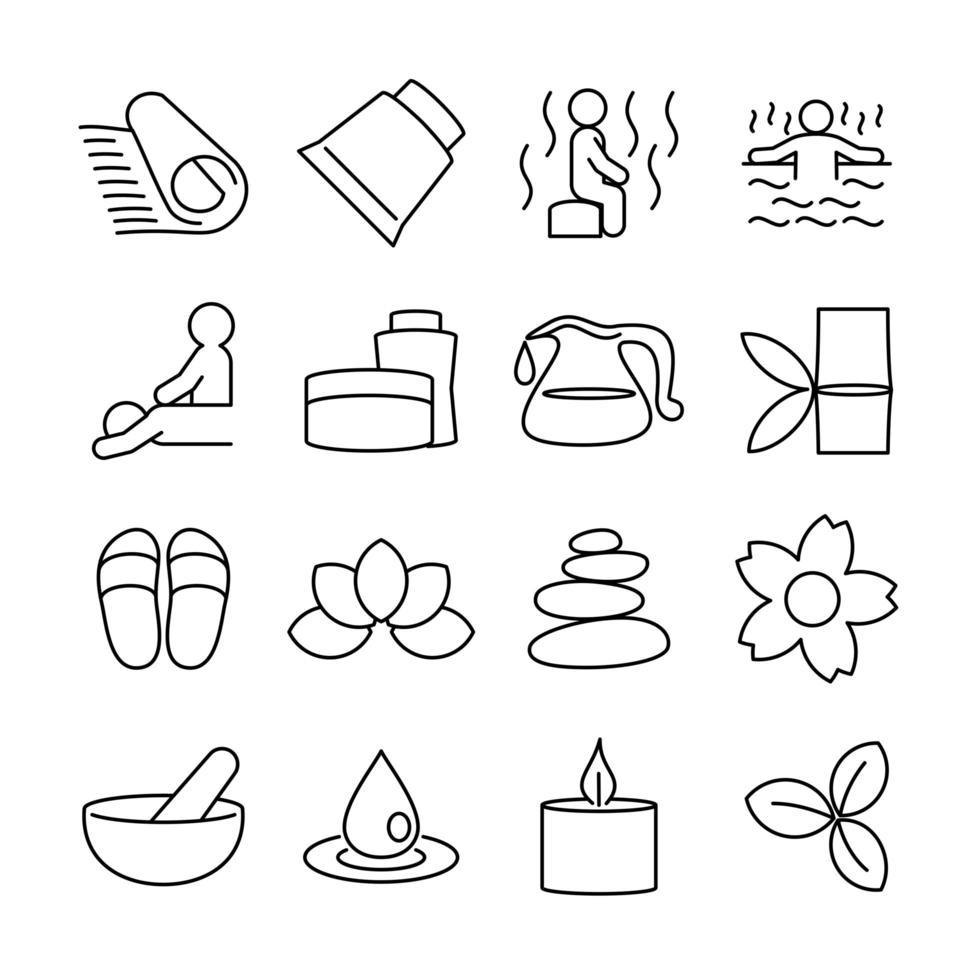jeu d'icônes de ligne activité spa et massage associée vecteur
