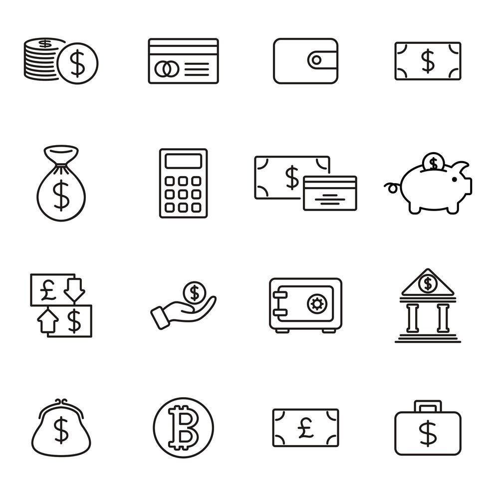jeu d'icônes économiques style de contour de trait modifiable vecteur