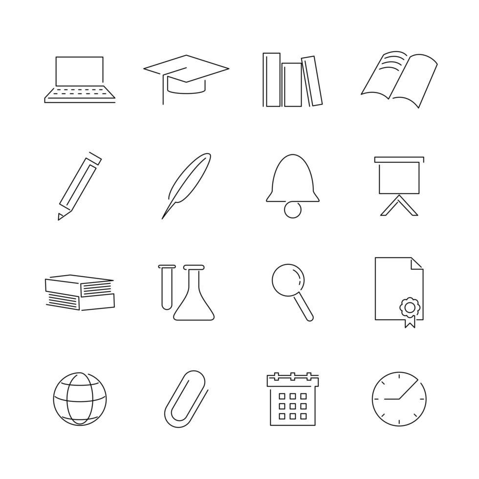 jeu d'icônes de ligne de l'éducation vecteur