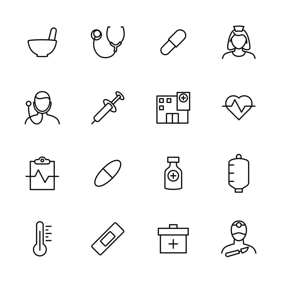 jeu d'icônes de ligne lié à l'activité médicale vecteur