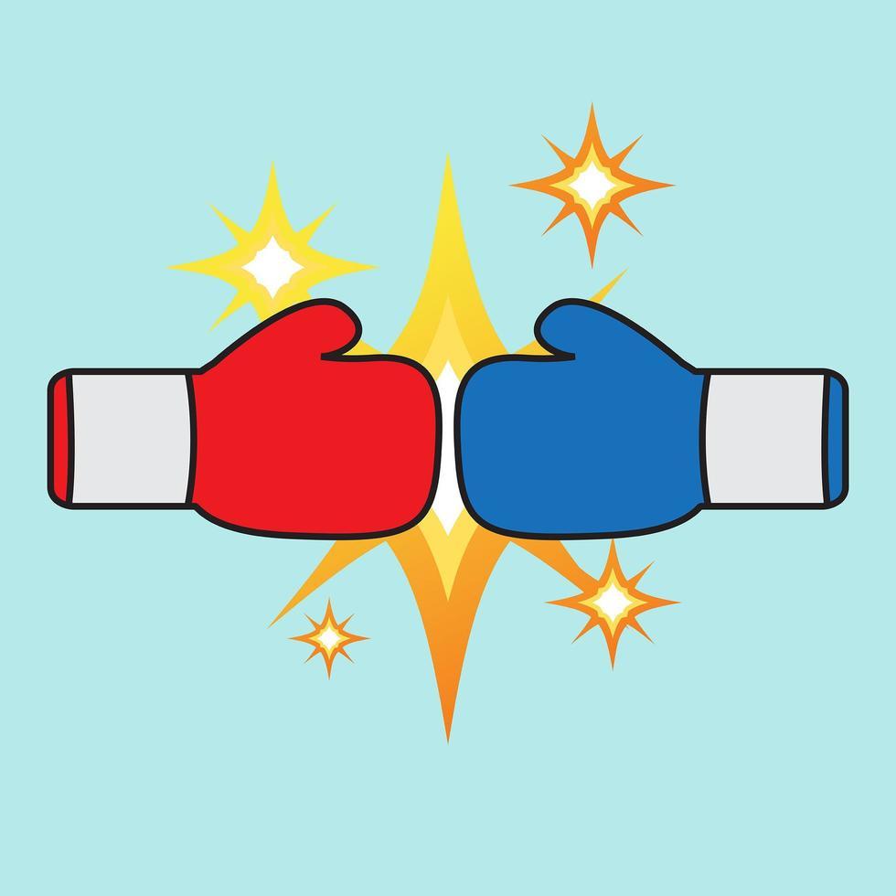 conception de boxe à gants rouge et bleu vecteur