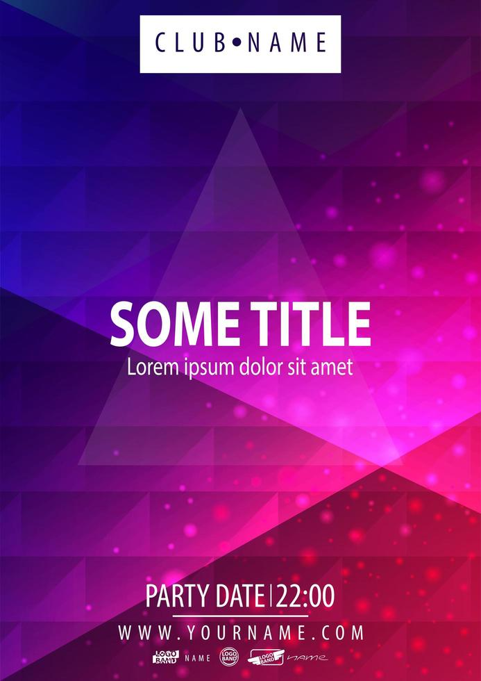 affiche de fête bleu et rose avec texture géométrique polygonale vecteur