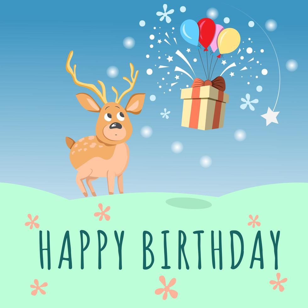 carte de joyeux anniversaire avec cerf mignon, ballon et boîte-cadeau vecteur