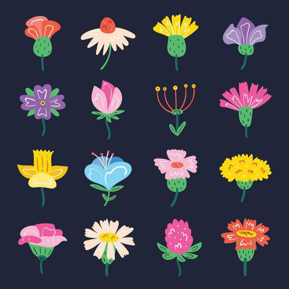 ensemble de petites fleurs sauvages mignonnes vecteur