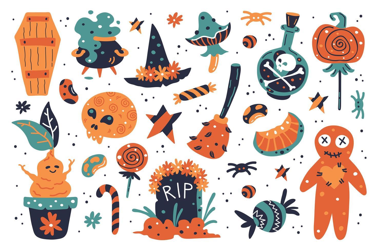 éléments de conception halloween heureux vecteur