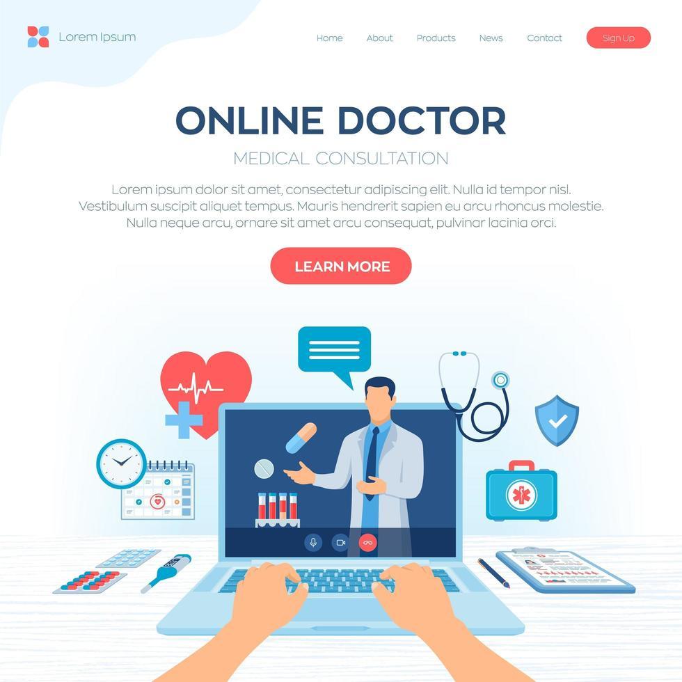 page de destination de la consultation médicale d'un médecin en ligne vecteur