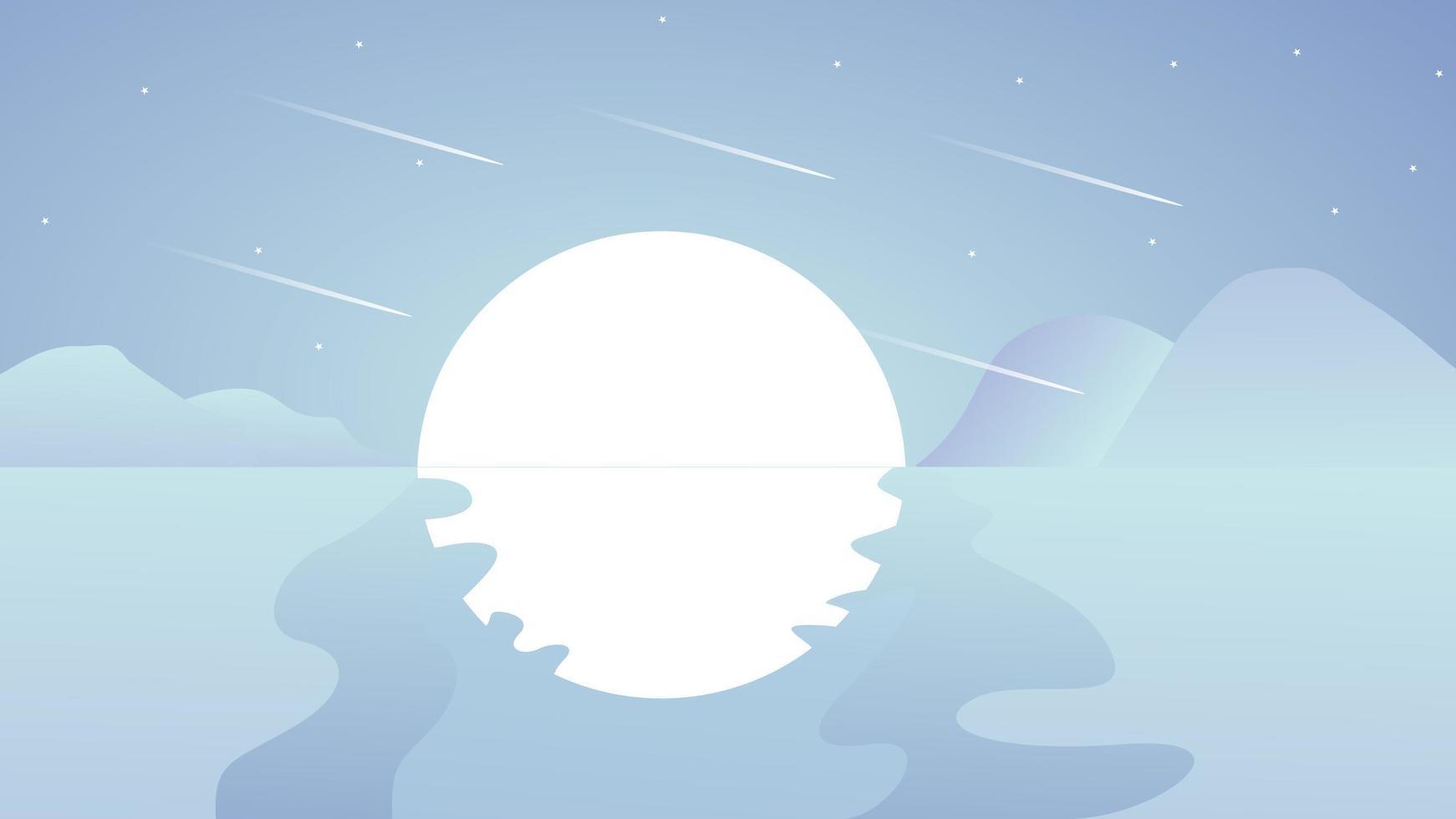 coucher de soleil aux tons bleus ou lune sur scène d'eau vecteur