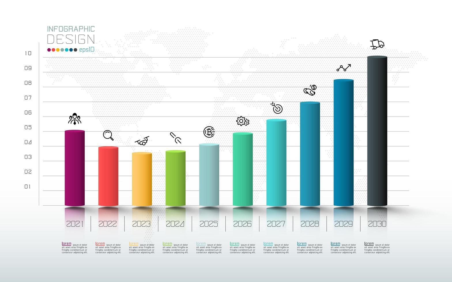 analyse et marketing des investissements en infographie à barres colorées vecteur