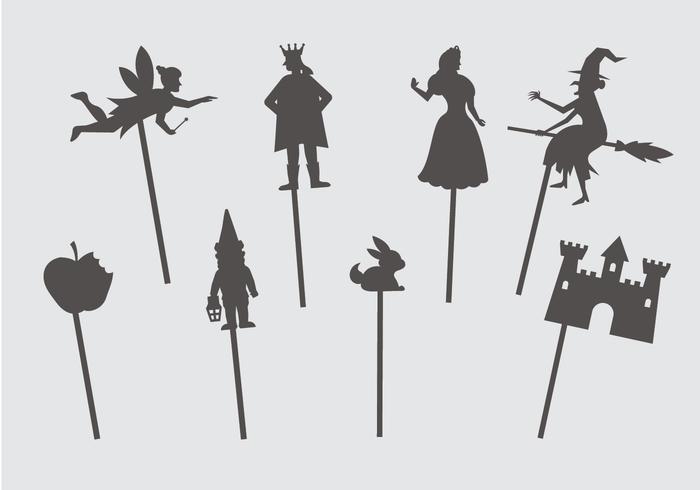 Marionnettes d'ombres de conte de fées vecteur