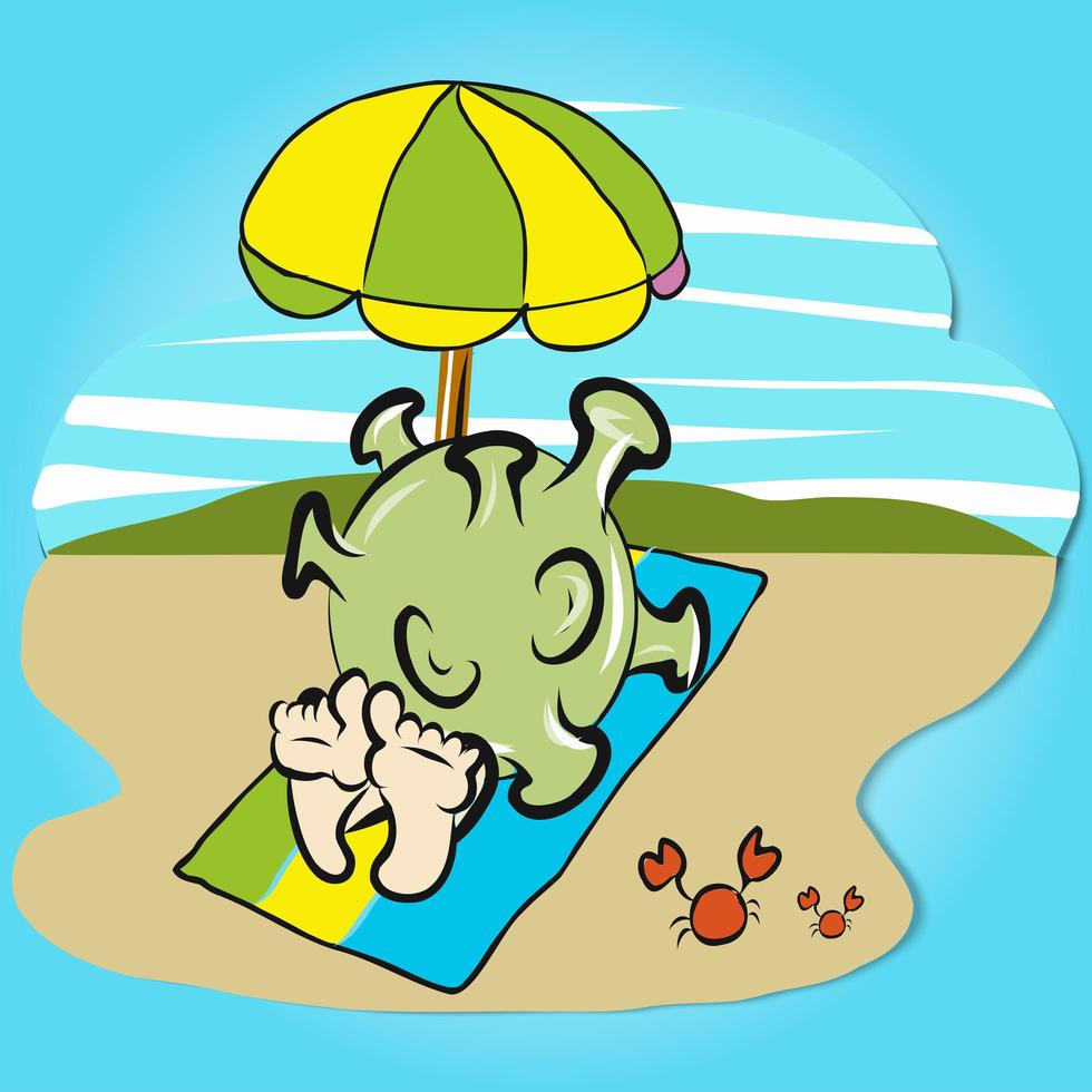 coronavirus sur la plage vecteur