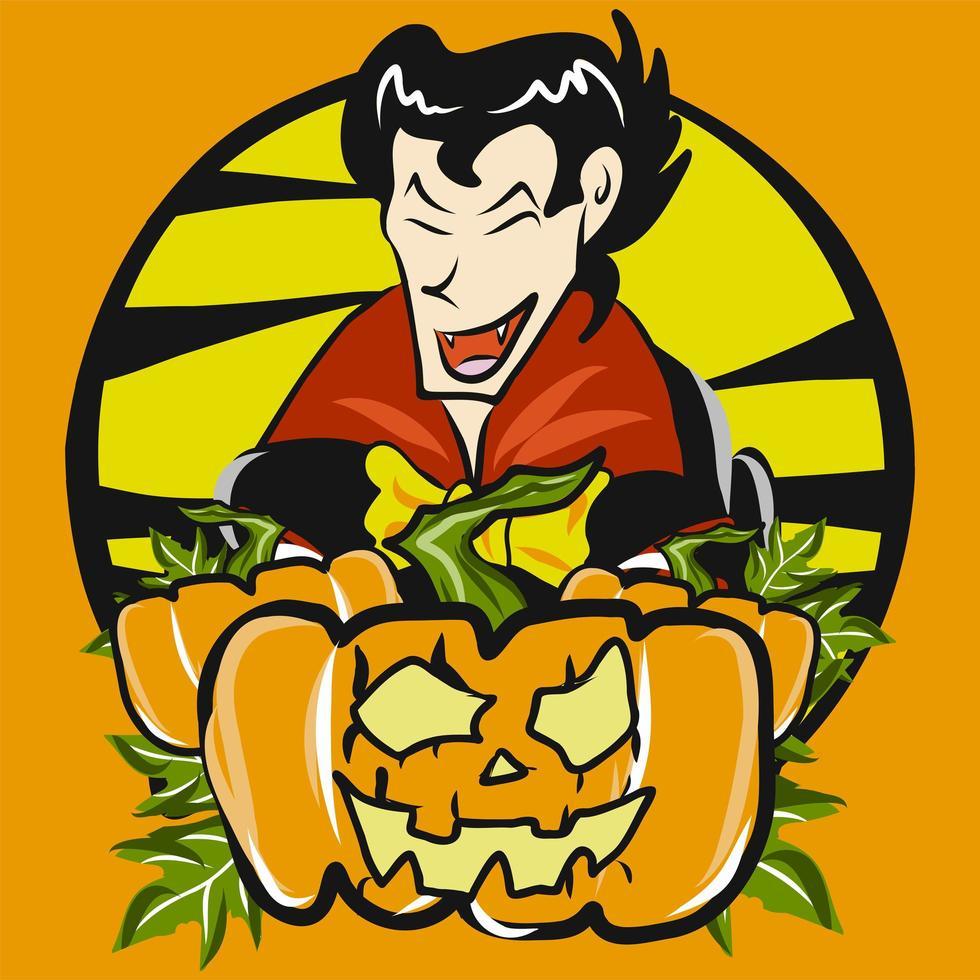 jack o lantern et vampire vecteur