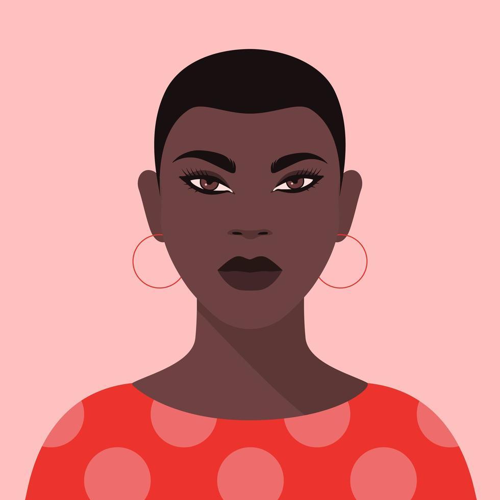portrait d'une femme noire vecteur