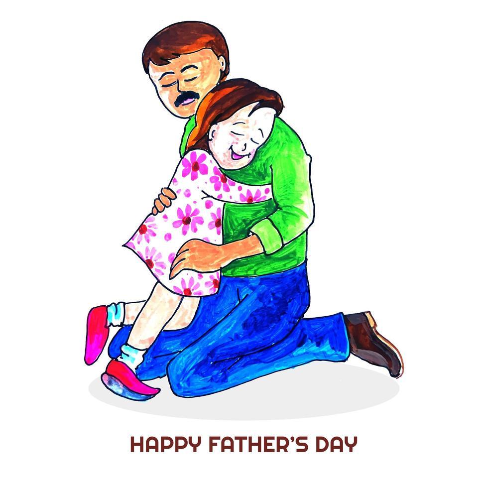 fond de fête des pères avec carte fille et papa vecteur