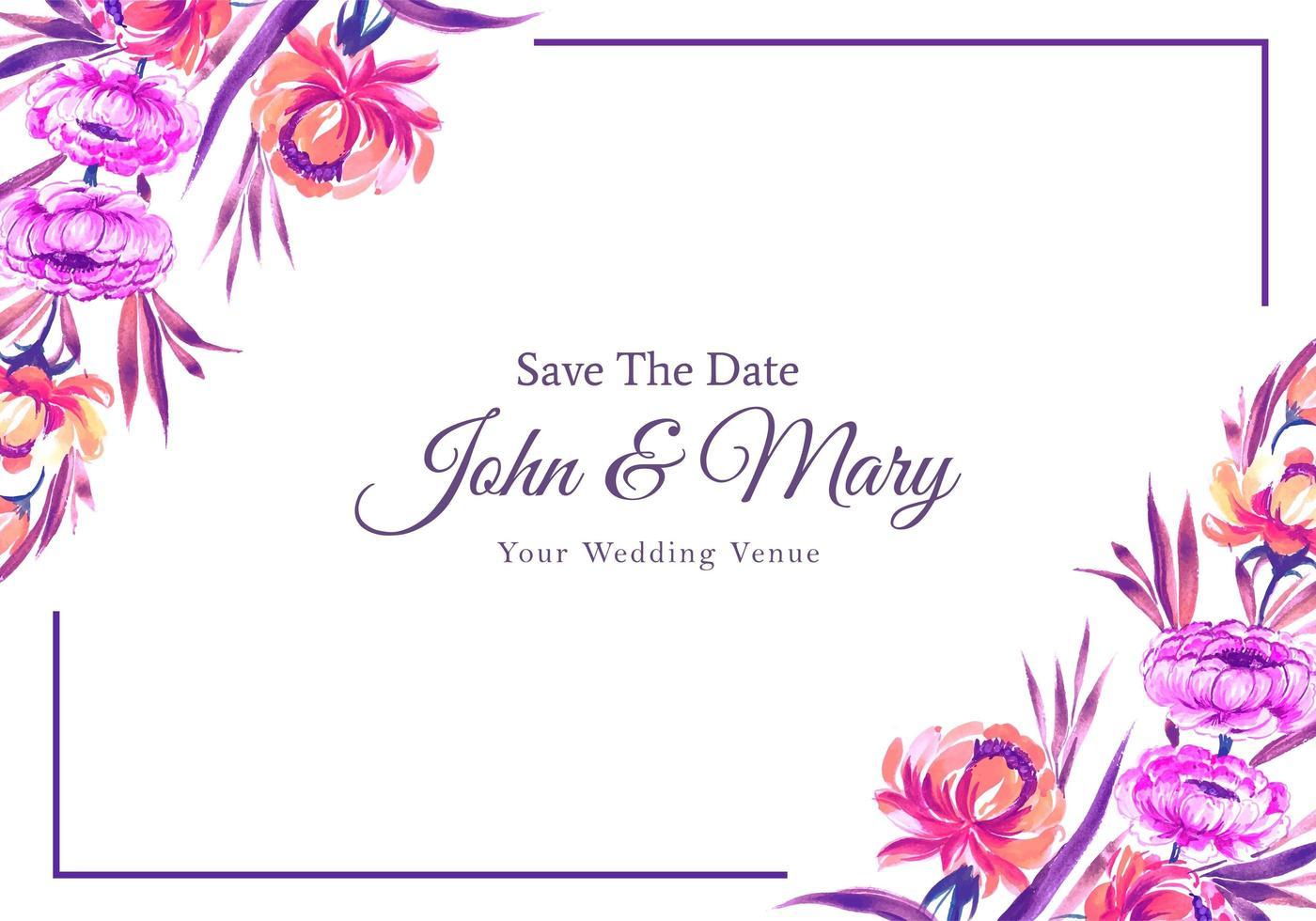 invitation de mariage conception de carte cadre fleurs colorées vecteur