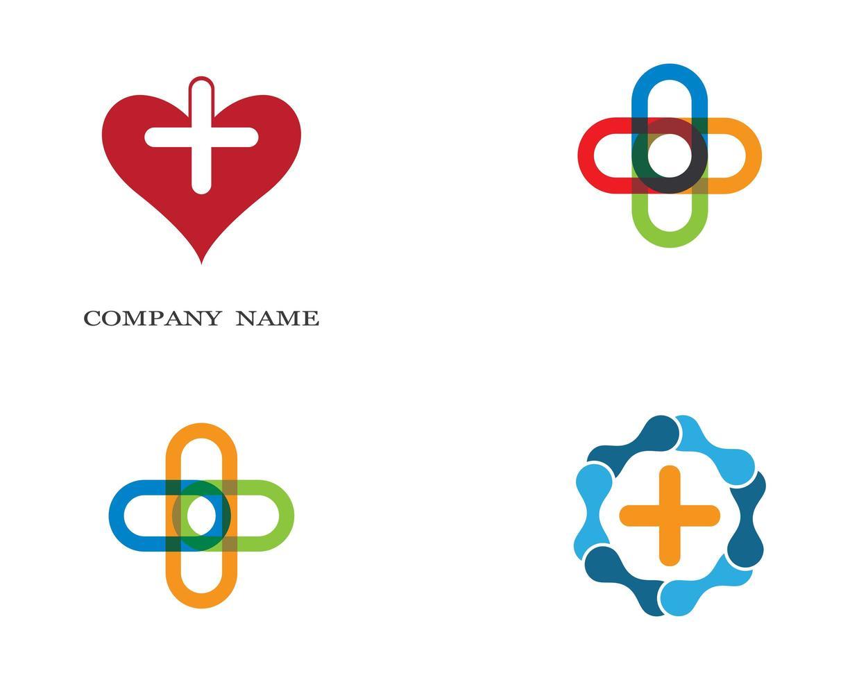 ensemble de logo de signe de santé médicale vecteur