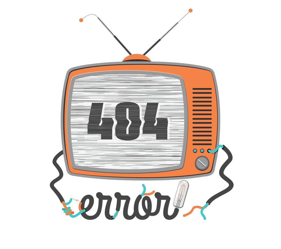 Erreur 404 vieux téléviseur avec écran glitch vecteur
