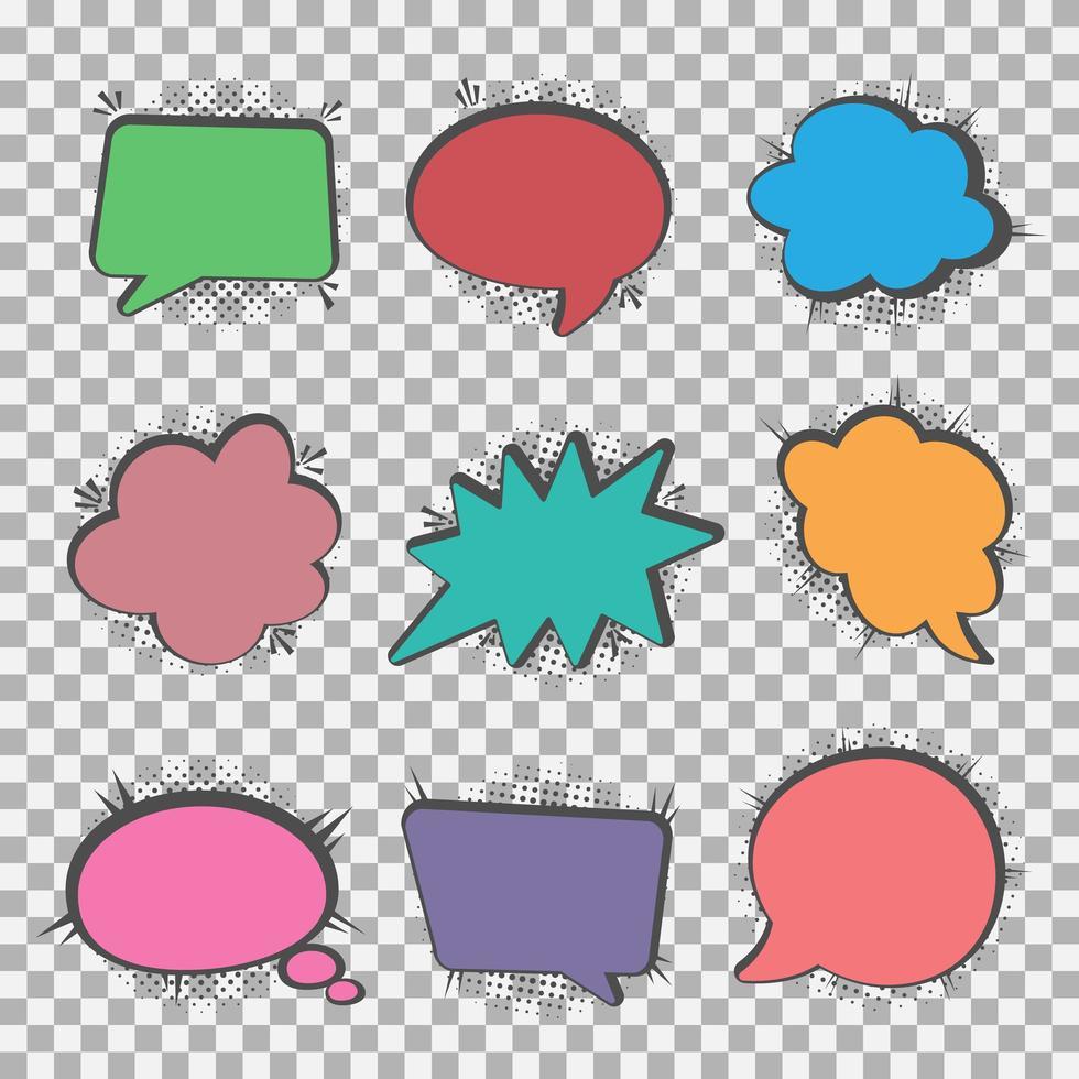 jeu de bulles colorées de discours vecteur