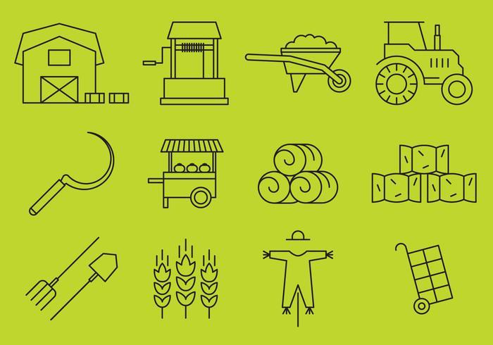 Icônes de ligne de ferme vecteur