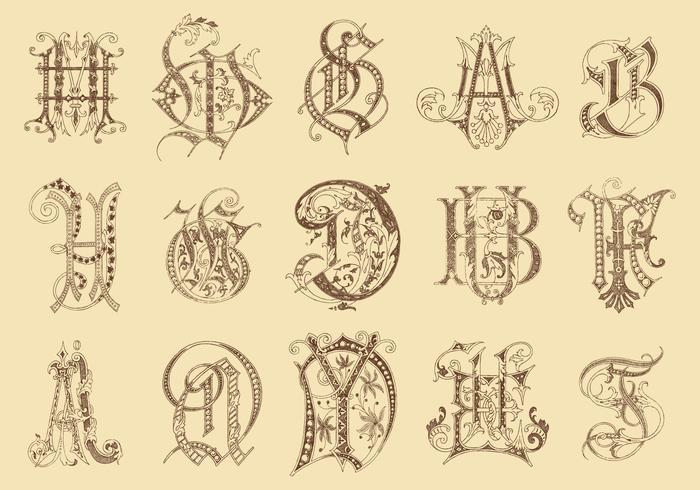 Anciens monogrammes vecteur