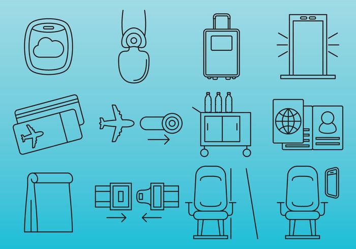 Icônes de voyage en avion vecteur