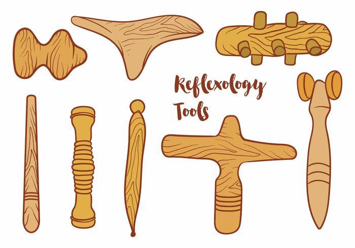 Ensemble d'outils de réflexologie vecteur