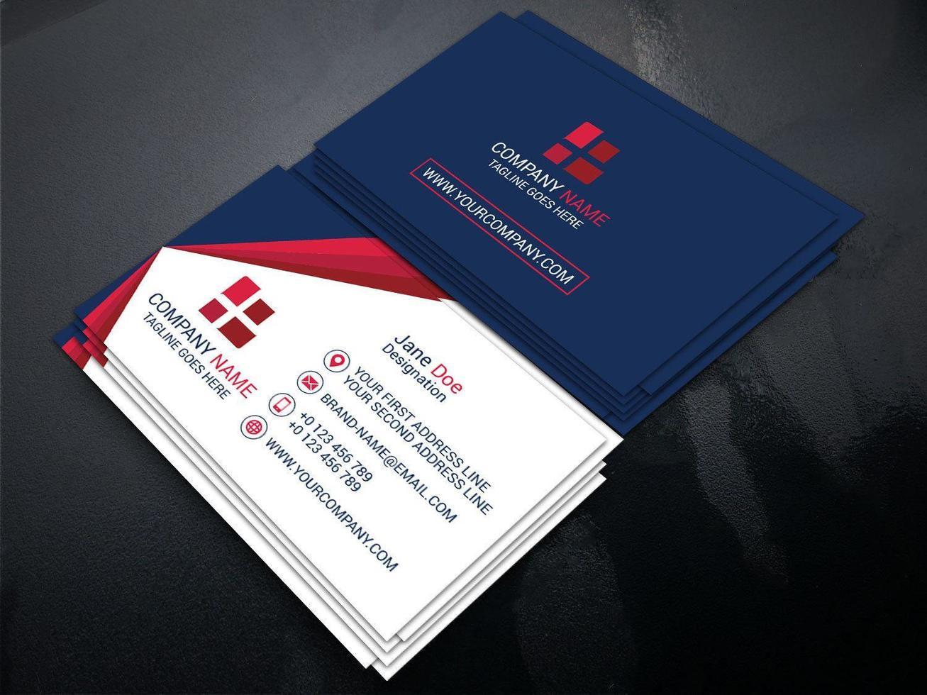 modèle de carte de visite bleu, blanc et rouge vecteur