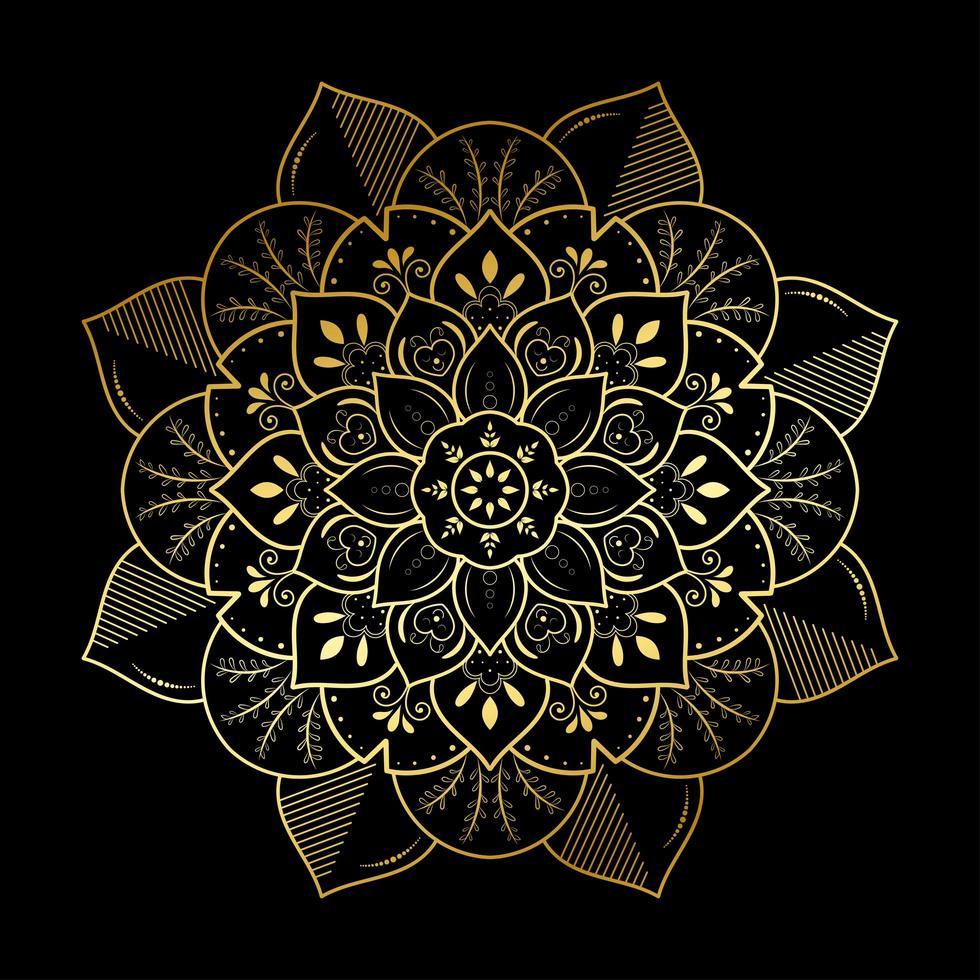 mandala de fleur de feuille rayée dorée vecteur