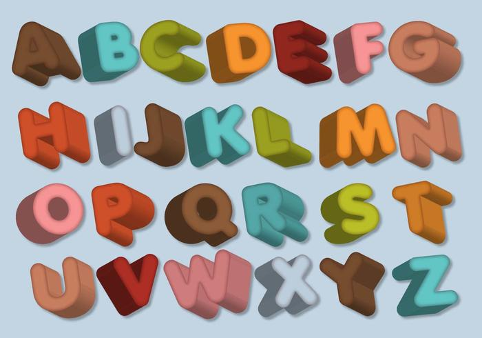 Lettres Alphabet Dimensionnel vecteur