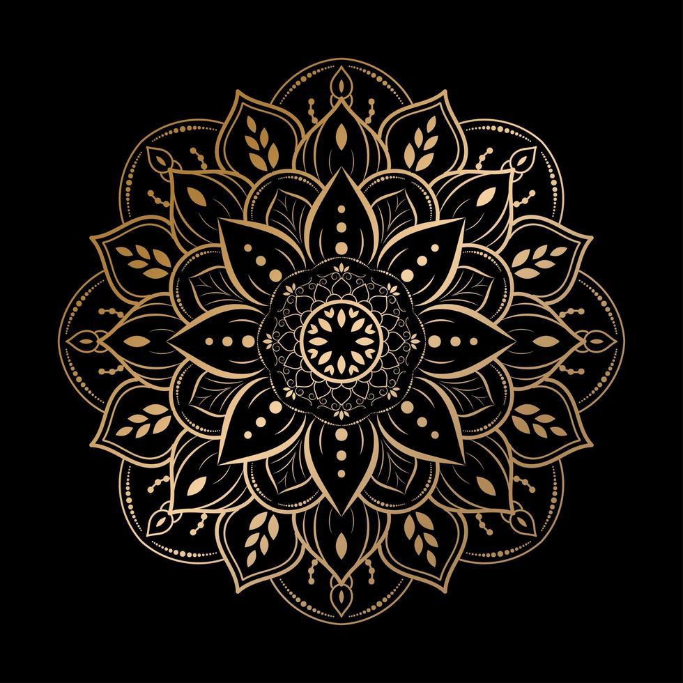 conception de mandala de fleur arrondie de luxe sur fond noir vecteur