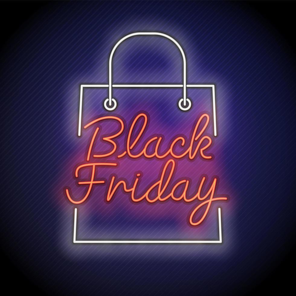 signe de sac shopping vendredi noir néon vecteur