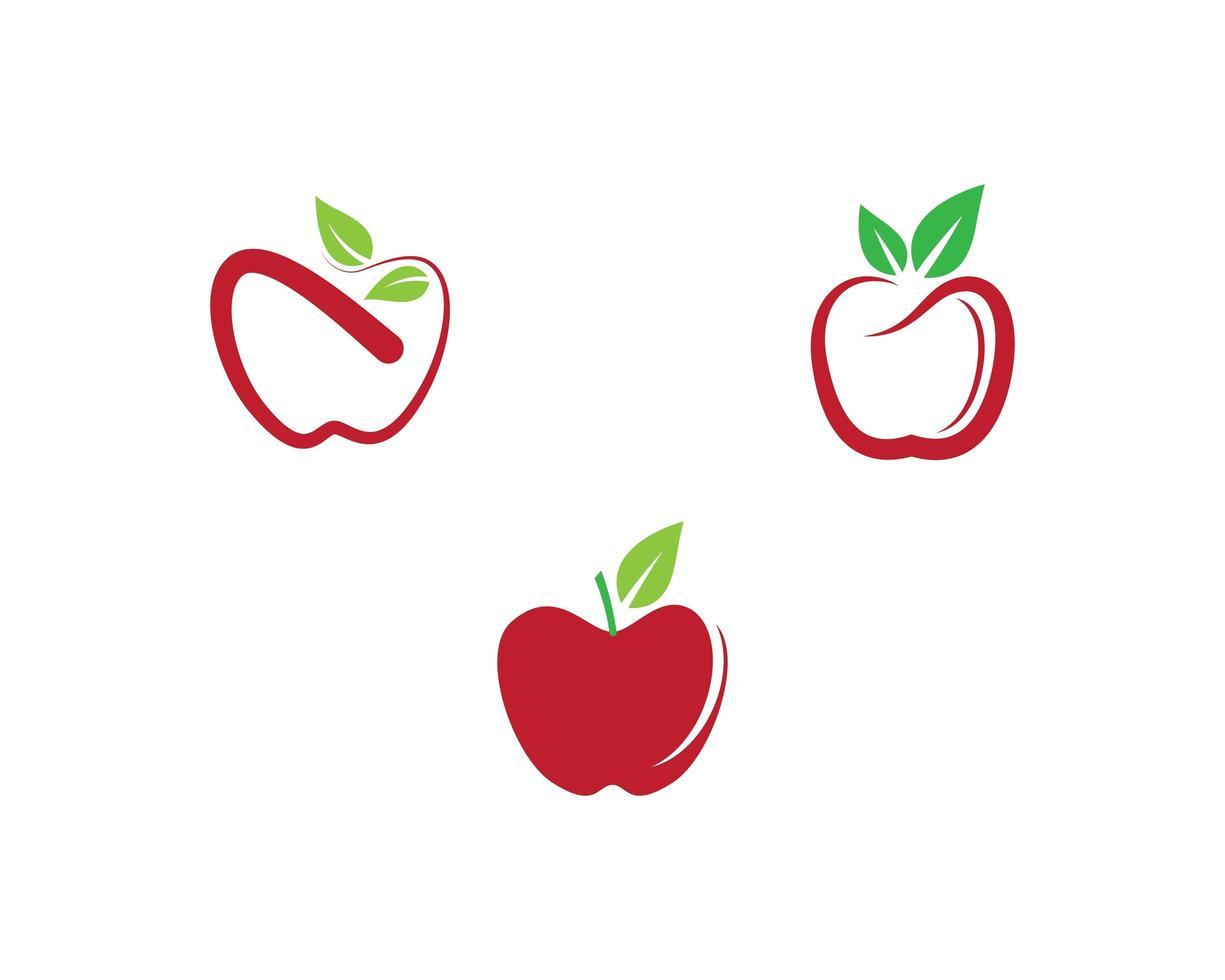 jeu d'icônes de pomme vecteur