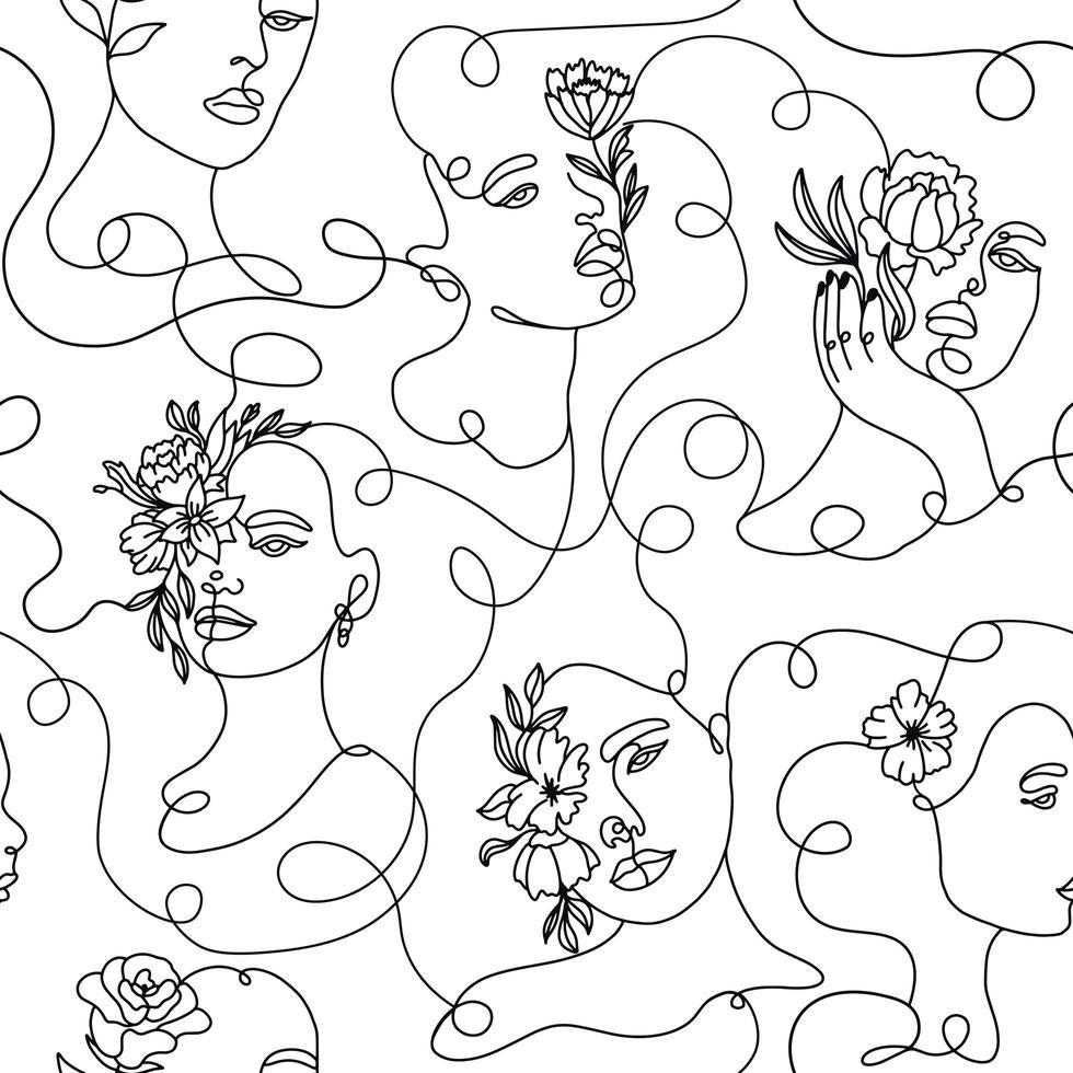un dessin au trait modèle sans couture de visage abstrait vecteur