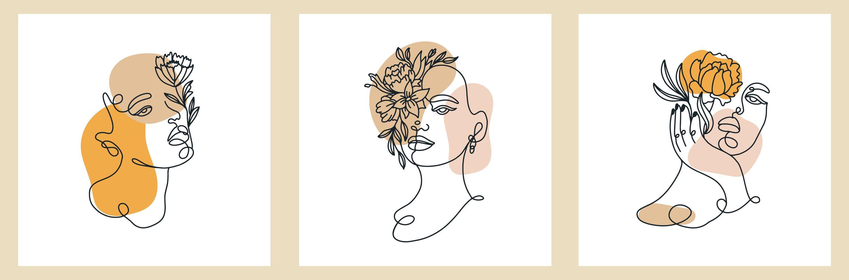 carte d'art sertie de dessins de visage de femmes d'une ligne vecteur