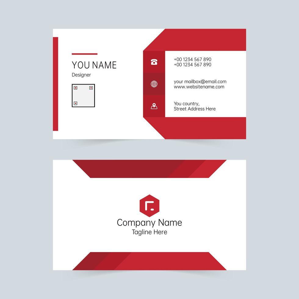 modèle de carte de visite minimaliste rouge et blanc vecteur