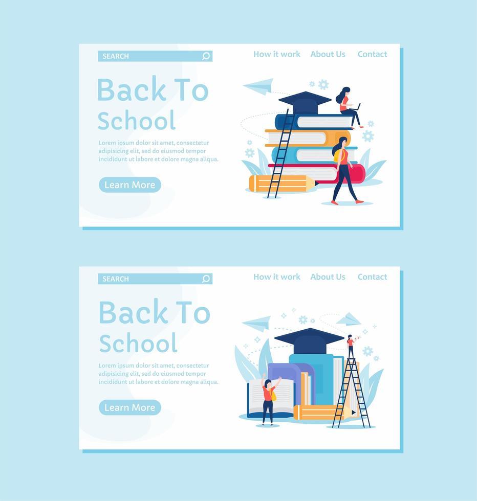 page de destination de retour à l'école bleu doux vecteur
