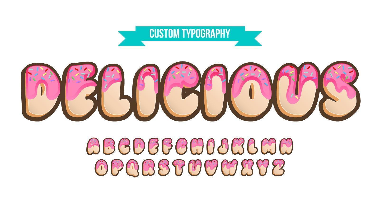 typographie personnalisée en forme de beignet vecteur