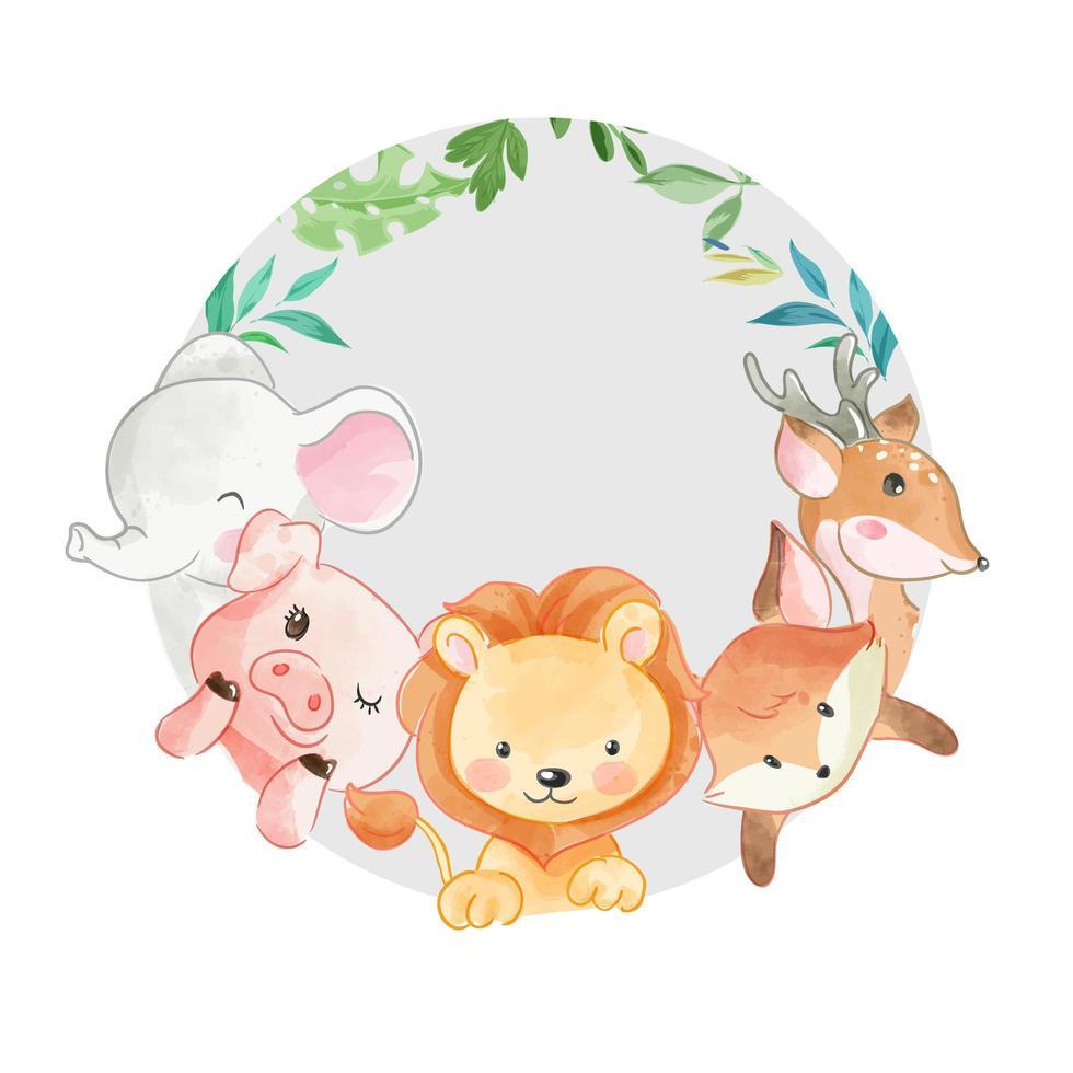 amis animaux mignons en cercle vecteur