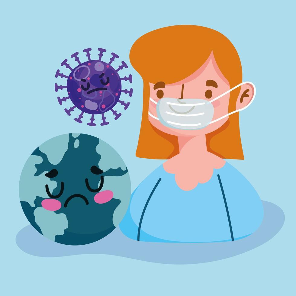 fille avec masque médical vecteur