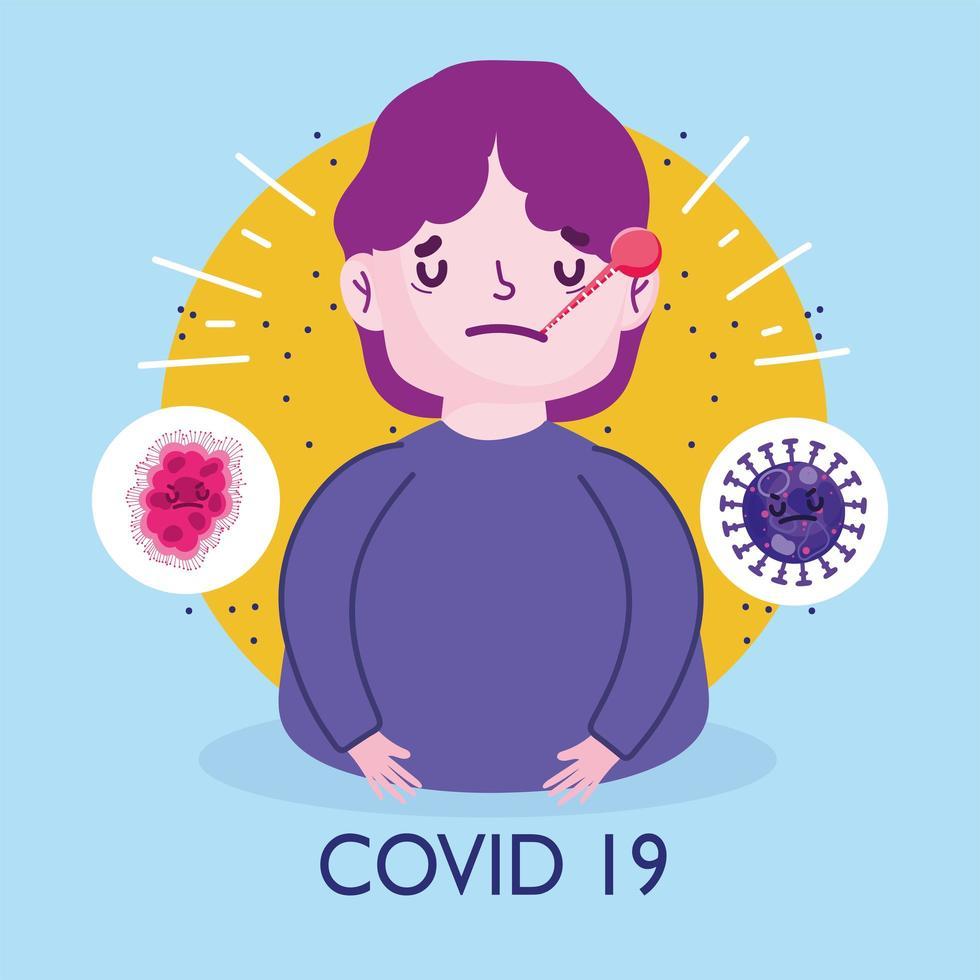 affiche de la pandémie du virus covid 19 avec un jeune homme malade vecteur