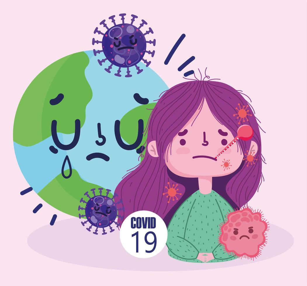Pandémie de virus covid 19 avec fille avec thermomètre vecteur