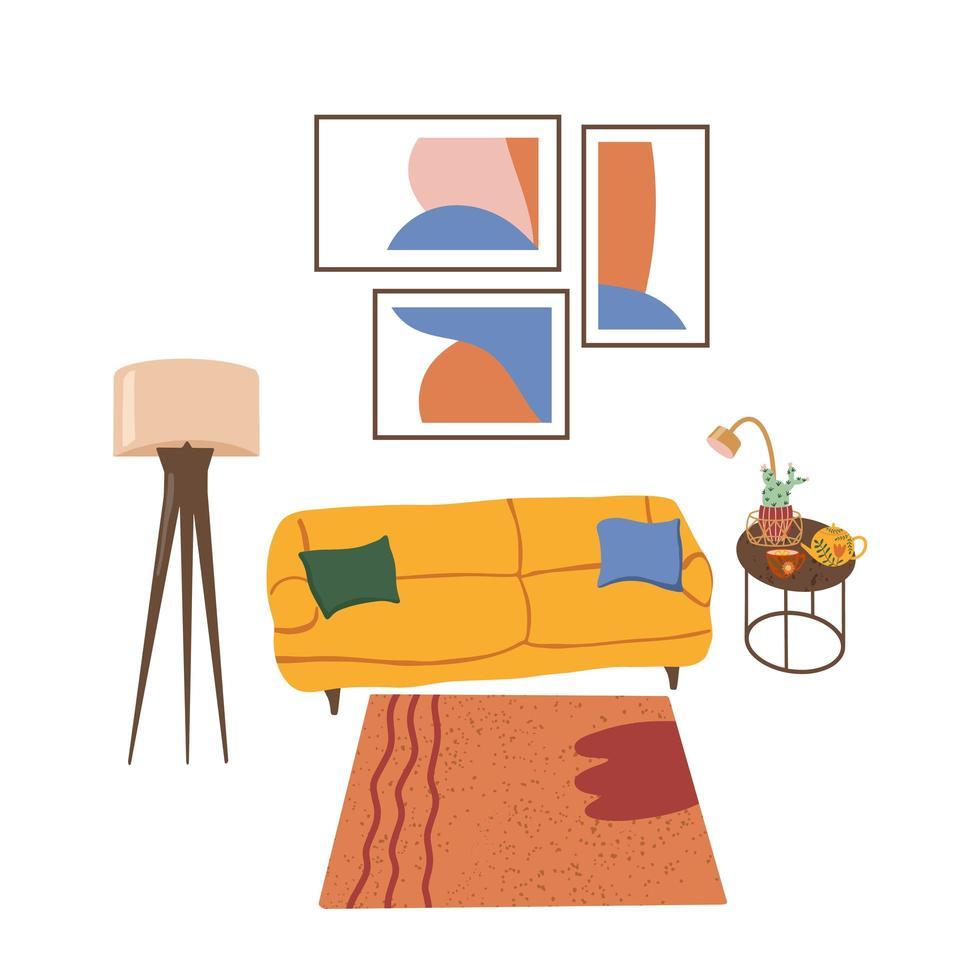 Éléments de design d'intérieur de salon de meubles modernes vecteur