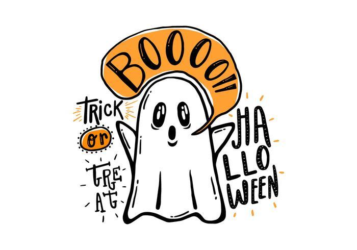 Vecteur fantôme dessiné à la main d'Halloween
