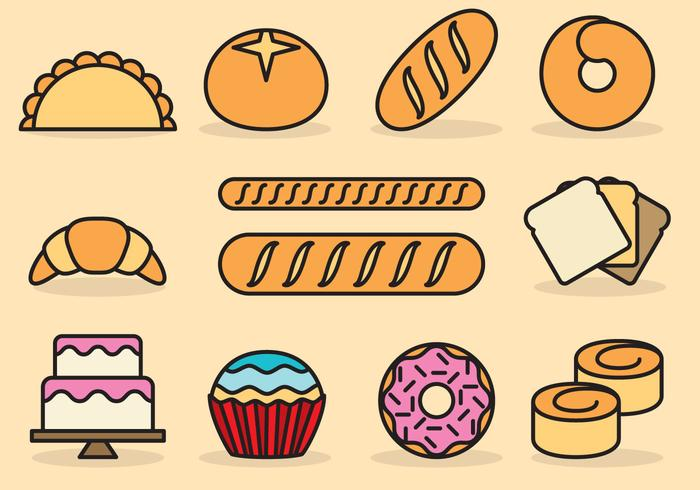 Cute Icônes de pain vecteur