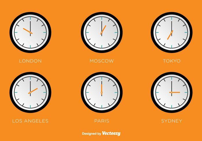 Fuseaux horaires horloges vectorielles vecteur
